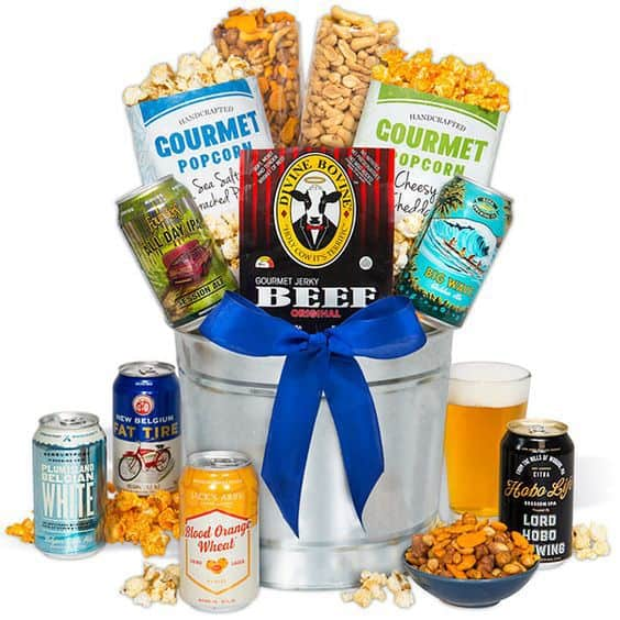 Valentine's Day Beer Gift Basket  - Send him a Valentine's Day gift that you know he'll love - beer!  Beer My Valentine Gift Basket contains 6 delightful microbrews, as well as manly snacks that your husband or boyfriend will love!  #FINDinista.com #valentinesgifts