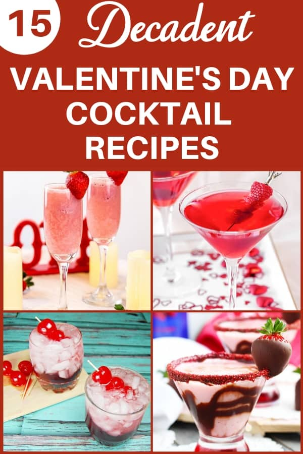 Valentine's Day Cocktail recipes - Looking for delicious cocktail ideas for Valentine's Day?  Spoil your favorite people (including yourself) with these decadent Valentine drinks!  #FINDinista.com #valentinesday #cocktailrecipes