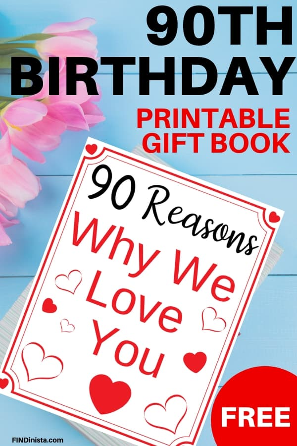 90th Birthday Free Printable Book