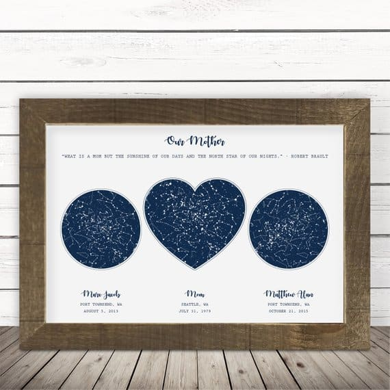 Unique birthday gifts for Mom - Delight your mother with this lovely personalized astronomical map of the night sky on the day she and the kids were born.  Fabulous gift idea for the mom who has everything!  #FINDinista.com #giftsforher