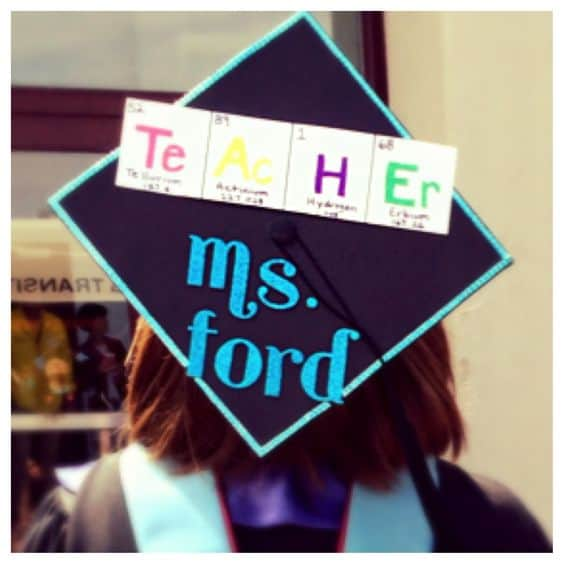 Periodic Table Teacher Graduation Cap - 20 Awesome Teacher Grad Caps