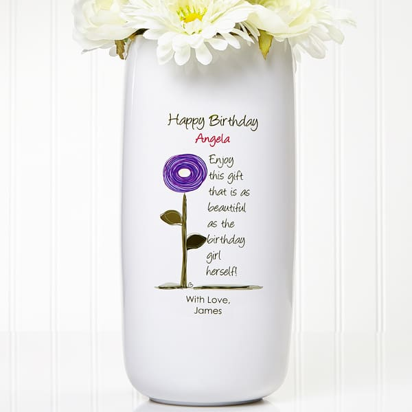 Personalized Birthday Vase - Delight Mom, Grandma, or another special lady on her birthday with this beautiful vase that's personalized with your own loving message.  #FINDinista.com #birthdaygifts