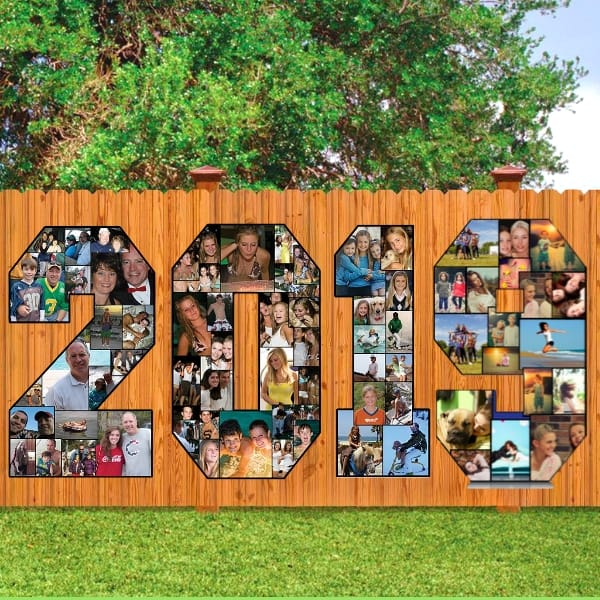 Graduation Photo Display Ideas - These colorful photo numbers in the shape of the graduation year make a huge impact at any grad party!