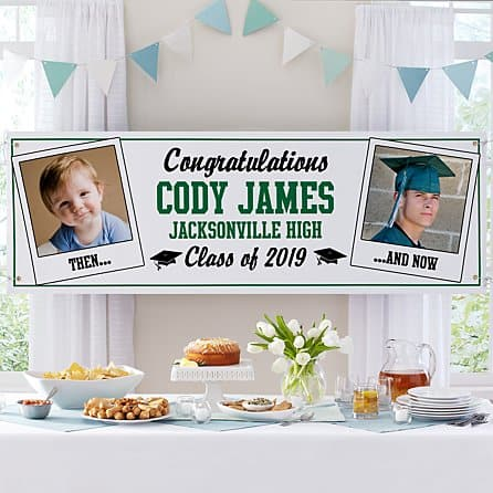 Then and Now Grad Photo Banner - Choice of Colors