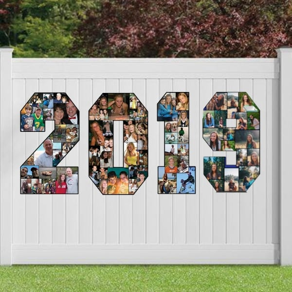 Large photo numbers on fence