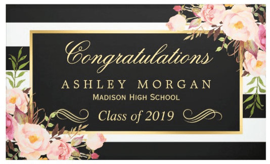 Floral and Stripes Graduation Banner
