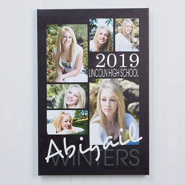Easy Grad Party Decorations 2019 - Beautiful photo collage is a great addition to your son's or daughter's grad party memory table.  And it will look great hanging on your walls long after the party is over!  #FINDinista #graduationparty #seniorpictures