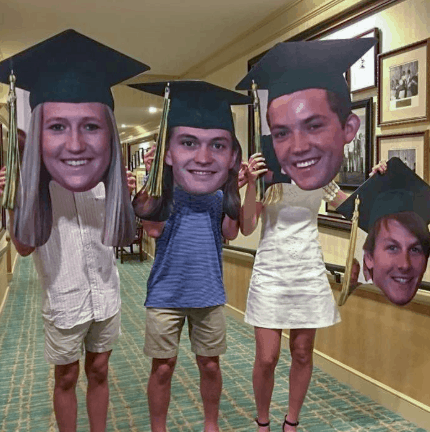 Graduation Party Decoration Ideas - Your guests will have a ball taking pictures with these fun graduation big head cutouts!