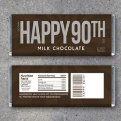90th Birthday Candy Bar Wrapper  - Print Yourself