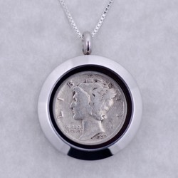 1929 Silver Mercury Dime Locket Necklace