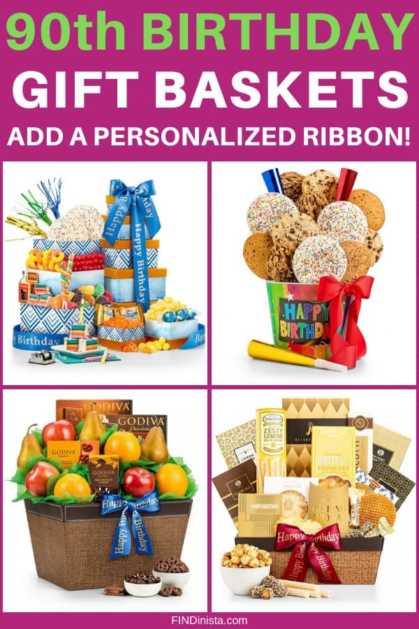 90th Birthday Gift Baskets - Send a special Happy 90th Birthday gift basket to anyone who is turning 90! Add a personalized ribbon with your own unique birthday message. Click to order or to see 50+ awesome birthday gifts for women who are turning 90. #FINDinista #90thBirthday #giftbaskets