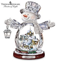 Thomas Kinkade Musical Snowglobe with Village and Moving Train
