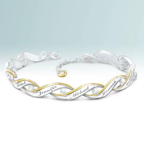 Diamond Bracelet for Mom - Looking for a fabulous jewelry gift for you Mom? Delight her with this striking personalized diamond bracelet! Sterling silver bracelet for Mom features 24k gold accents and up to 10 engraved names. Click to order or see 50+ fabulous gifts Mom will love!