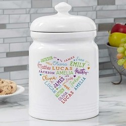 Personalized Cookie Jar with up to 21 Names - 5 Colors