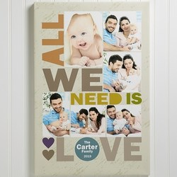 All We Need Is Love Personalized Photo Canvas - Choice of Colors