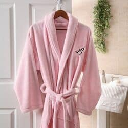Embroidered Microfleece Robe - Pink or Black