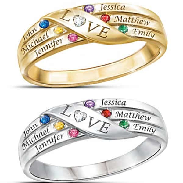 Family Birthstone and Diamond Ring with Names - Thrill Mom, Grandma or your Mother in Law with this gorgeous family ring! Available in sterling silver or gold, the sparkling ring features a genuine diamond in the middle of the word LOVE. Add up to 6 kids names and birthstones. Fabulous Mother's Day, birthday or Christmas gift for Mom! #FINDinista #mothersjewelry #mothersring