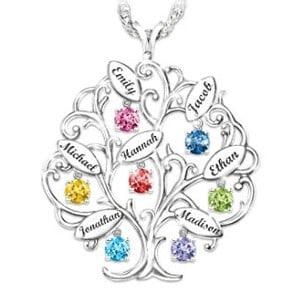 Personalized Family Tree Birthstone Necklace with up to 7 Names