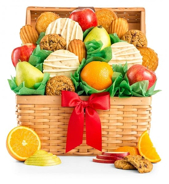 Fresh Fruit & Cookies Gift Basket- Personalized Ribbon