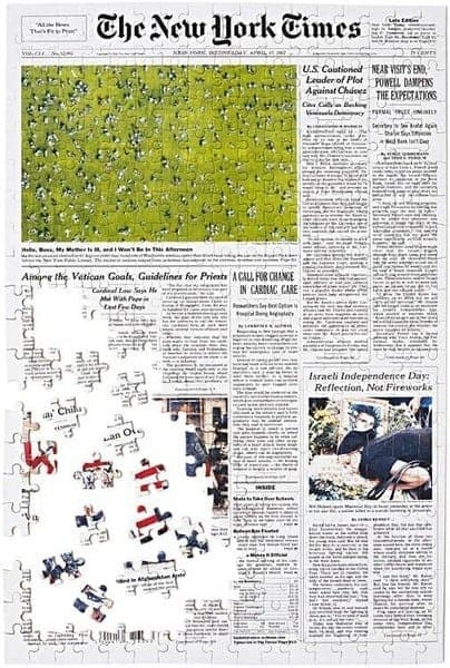 The New York Times Front Page Puzzle - Looking for fun gifts for a lady who is turning 90? Surprise her with a jigsaw puzzle that features The New York Times front page from the day she was born! Click for details, or to see 50+ clever gifts for a ninety year old woman. #FINDinista #90thBirthdays #giftsforher