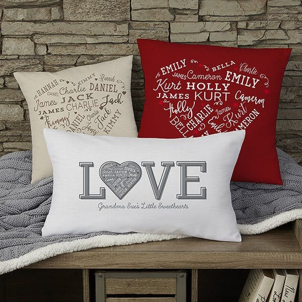 Gifts for Elderly Women - How cute are these pillows that feature their loved one's names (or meaningful words) printed in a heart fashion? Great Mother's Day, birthday or Christmas gift for older woman - especially a woman in a nursing home or wheelchair. Click to see more great gift ideas for 90 year old woman. #FINDinista #90thBirthday #giftguides
