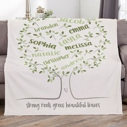 Mother in Law Christmas Gift Ideas:  Personalized Family Tree Blanket