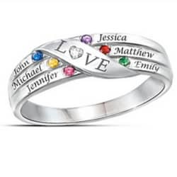 Family Diamond & Birthstone Ring with Names
