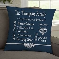 Our Family Personalized Throw Pillow - 4 Colors