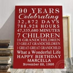 Personalized 90th Birthday Sign - Choice of Colors