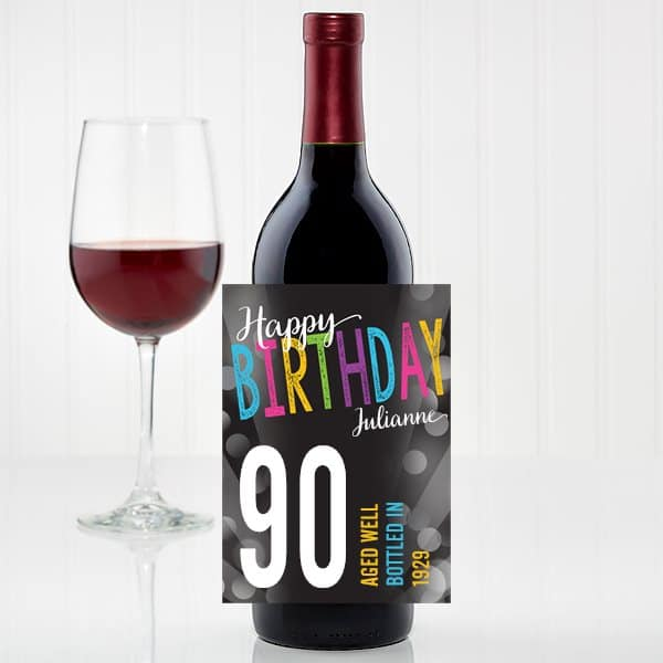 Personalized birthday wine bottle label is a fun and inexpensive gift for any milestone birthday! #FINDinista #90thBirthday #winegifts