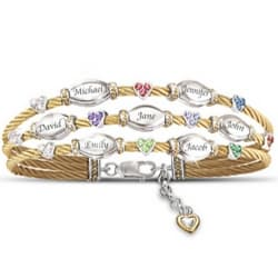 Mother's Bracelet with up to 10 Names and Heart-Shaped Swarovski Crystal Birthstones