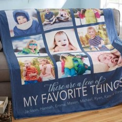 Favorite Things Personalized Photo Blanket or Canvas - Choice of Colors