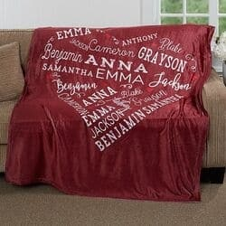 Personalized Close to Her Heart Blanket with up to 21 Names