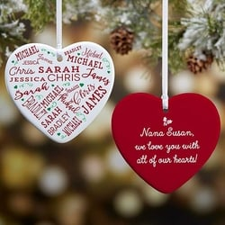 Personalized Heart Shaped Christmas Ornament with up to 21 Names