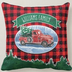 Personalized Christmas Tree Vintage Red Truck Throw Pillow