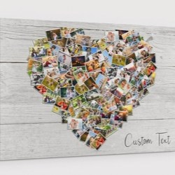 Personalized Heart Shaped Family Photo Collage Canvas with 100 Pictures