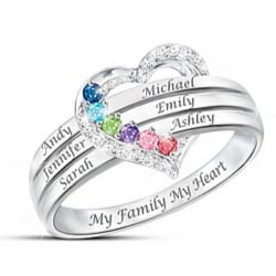 My Family, My Heart Mother's Birthstone Ring with Names