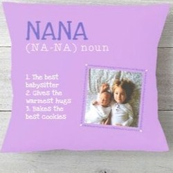 Personalized Nana Pillow with Grandkids Photo - 4 Colors