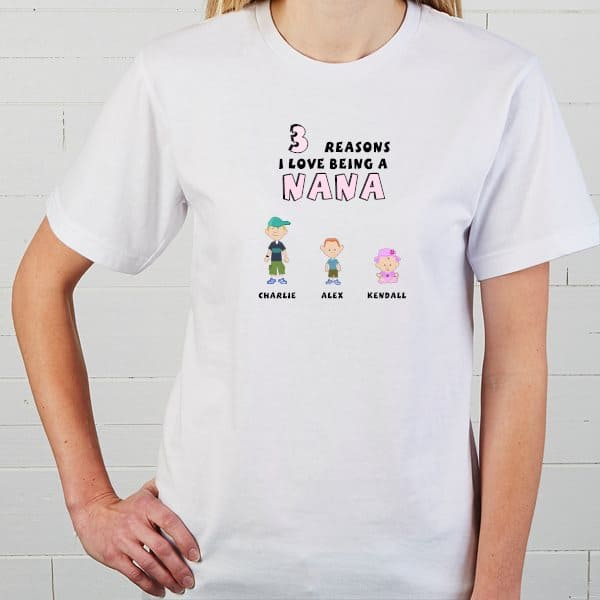 Nana Shirts with Grandkids Names - Looking for but inexpensive Nana gifts for Christmas? Delight her with a personalized nana shirt with grandkids names on it! Click to see 25+ awesome gift ideas for Nana. #FINDinista #nanagifts #nanashirts