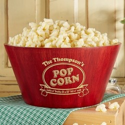 Personalized Bamboo Popcorn Bowl  - 2 Sizes