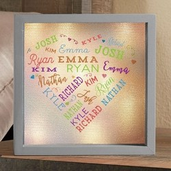 Personalized LED Light Shadow Box with up to 21 Names - Choice of 5 Colors