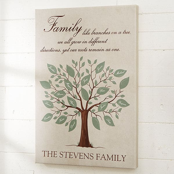 What to Get Grandma for Christmas - Looking for awesome Christmas gifts for Grandma who has everything? Surprise her with this lovely personalized family tree canvas! Click to order, and to see 25+ great Christmas gift ideas for Grandma. #FINDinista #Christmasgifts #grandmagifts
