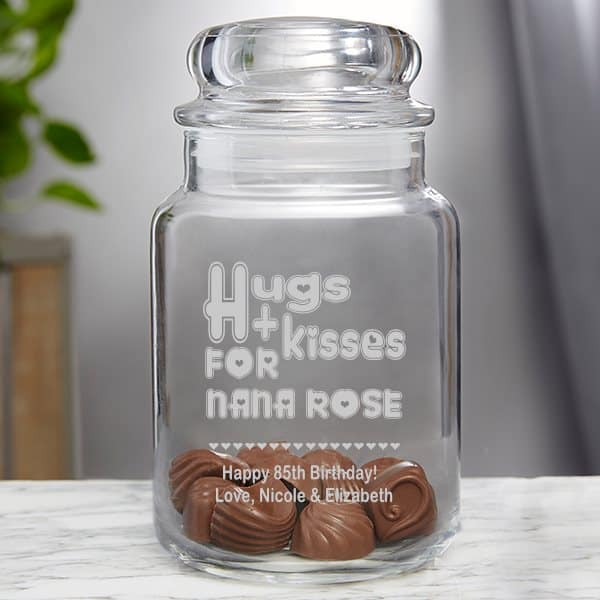 Personalized gifts for 85th birthday - cute candy jar is a sweet gift for any older woman!