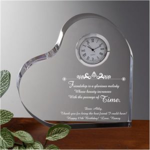 Shopping for a sentimental 85th birthday gift for women? Add your own loving message to personalized Beauty of Friendship lucite clock.