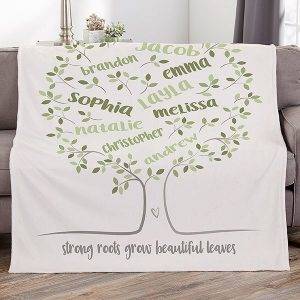 Gifts for 85 Year Old Woman - Wrap her in a blanket of love with this gorgeous personalized family tree blanket! Click to see 50+ awesome Christmas and birthday gift ideas for 85 year old women.