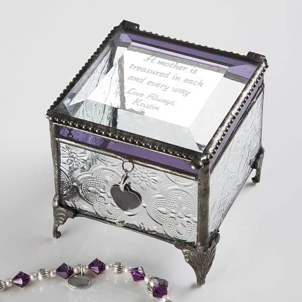 Beautiful personalized jewelry box is a sentimental gift that is perfect for a woman turning 85! Add your own poem or special engraving to create a unique gift she will treasure!