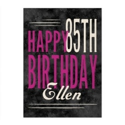 Personalized 85th Birthday Greeting Card - Pink or Teal