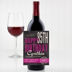 Personalized 85th Birthday Wine Bottle Label
