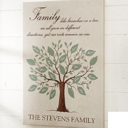 Family Tree Personalized Canvas with up to 20 Names