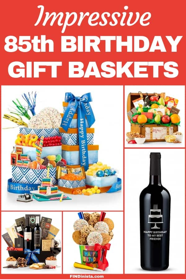 85th Birthday Gift Baskets - Looking for a fabulous gift basket for 85 year old man? Impress him with a delicious gourmet gift basket! Click to see 50+ birthday gift baskets that he'll love!